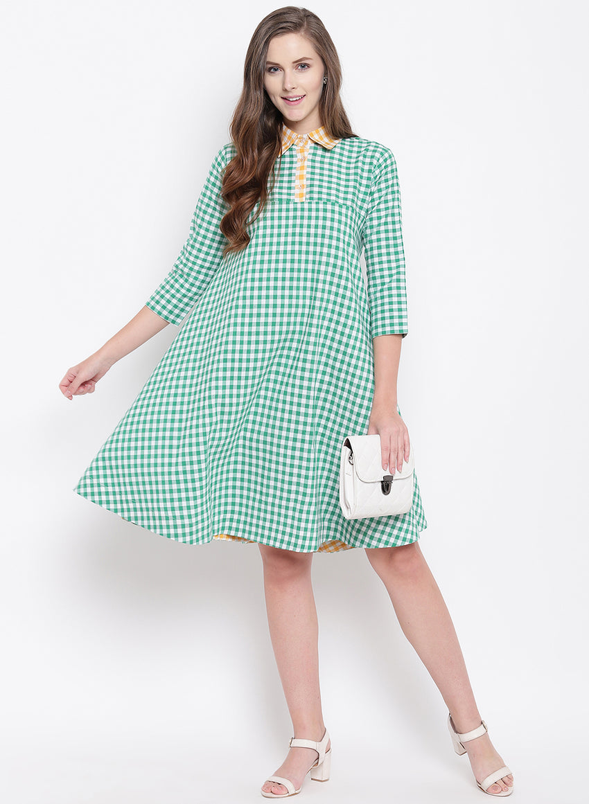 Fabnest womens handloom cotton green and white check circular dress with yellow check details