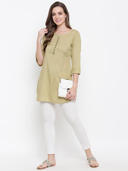 Fabnest womens rayon beige tunic with tagaai work