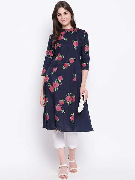 Fabnest womens rose print indigo cotton kurta with solid side panel and back