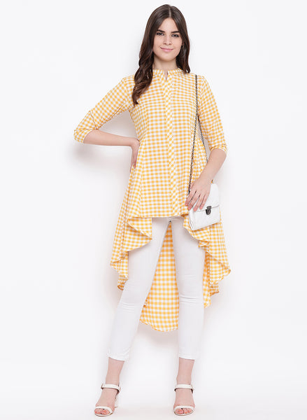 Fabnest womens handloom cotton yellow check assymterical hem long tunic