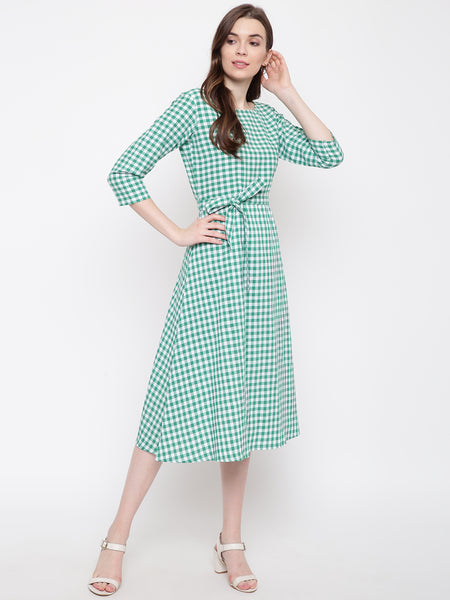Fabnest Womens Handloom cotton green/white check dress with belt