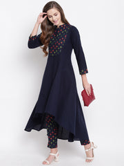 Fabnest womens indigo cotton assymetrical hem cotton kurta with a printed yoke