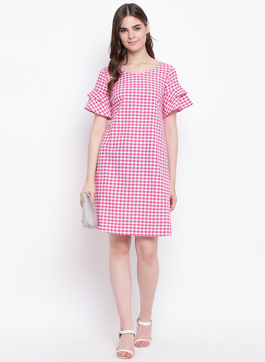 Fabnest womens handloom cotton pink and white check shift dress with flounce short sleeves