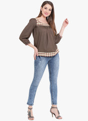 Fabnest womens cotton brown top with check inserts