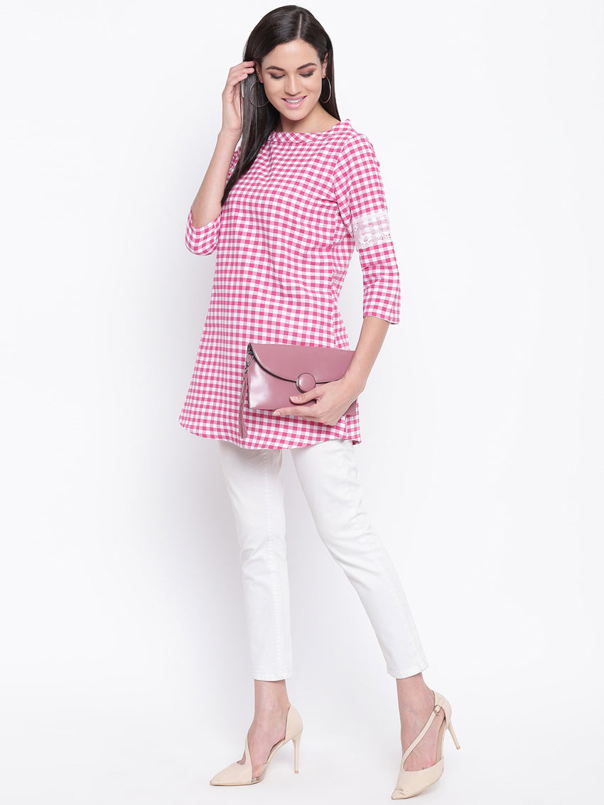 Fabnest womens cotton Pink and white check boat collared neck and lace insert at the sleeve