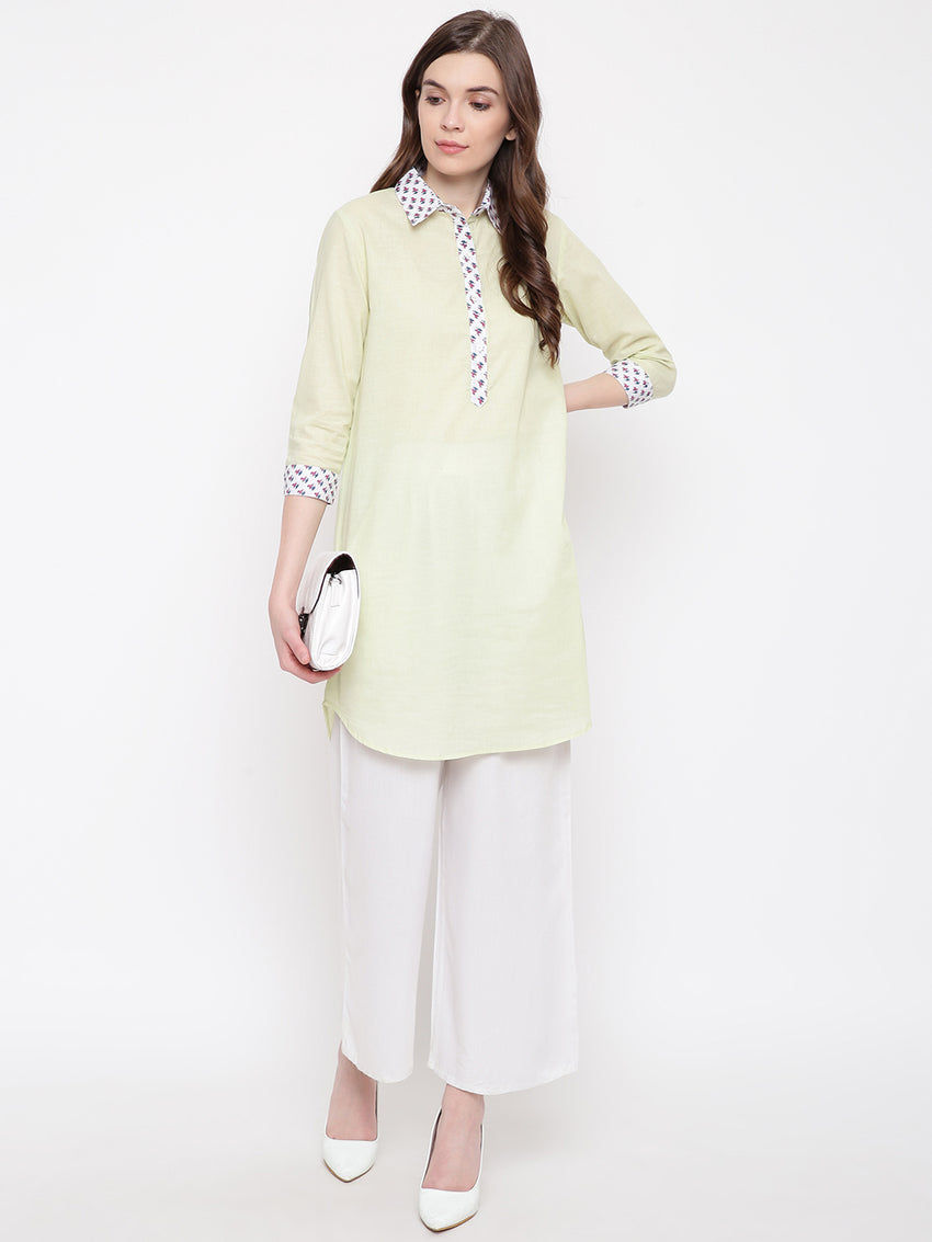 Fabnest women light green cotton tunic with jaipuri print accents