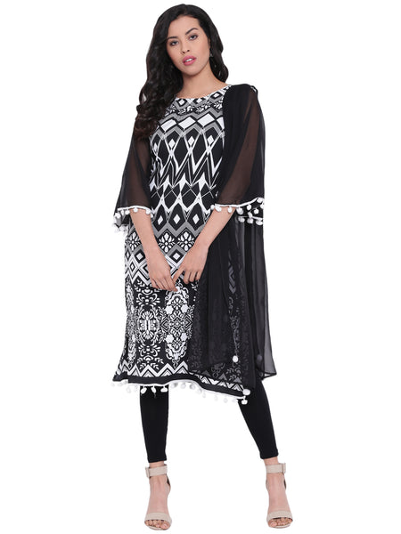 FABNEST Women Printed Black Straight Kurta With White Pom Pon