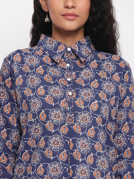 Fabnest womens cotton indigo printed collared tunic