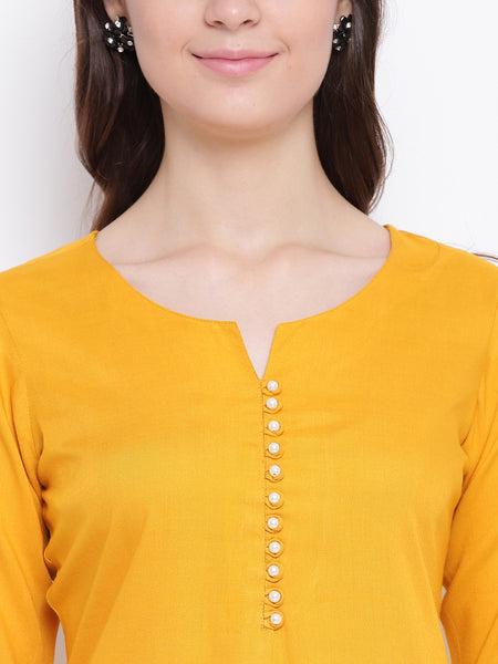 Fabnest womens mustard rayon pearl button short kurta/tunic