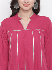 Fabnest womwns crepe pink full sleeves loose fitted kurta and straight pant set with gota inserts.