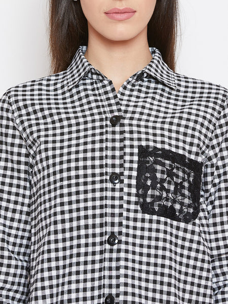 Fabnest womens cotton black and white check shirt with lace inserts