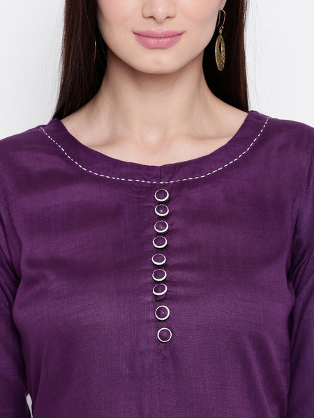 Fabnest womens rayon purple tunic with tagaai work