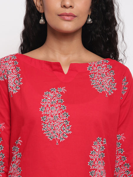 Fabnest womens assymetrical hem red printed cotton kurta