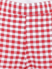 Fabnest Womens Cotton Handloom red and white gingham check shorts