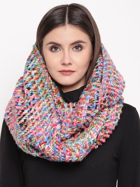 Fabnest womens wool acrylic pink multi self design infinity scarves