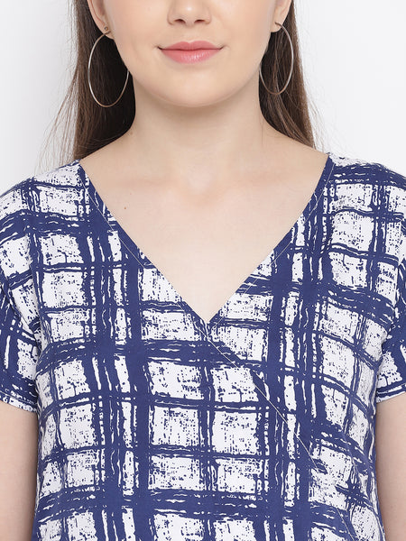 Fabnest womens crepe overlap dress in white and blue abstract printed