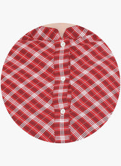Fabnest womens red check buttoned down top with assymetrical sides
