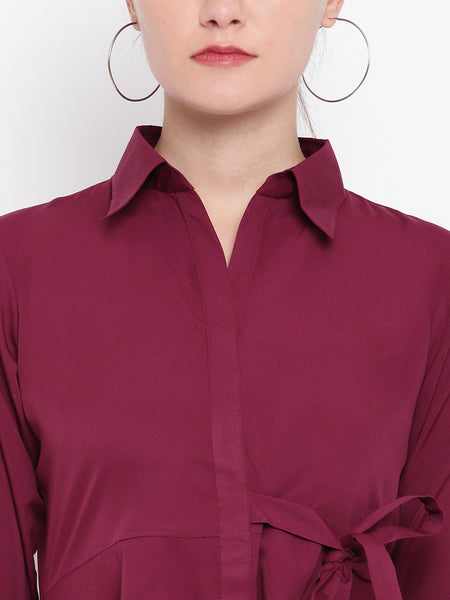 Fabnest womens crepe wine coloured tunic, with assymetric hemline had a side tie up