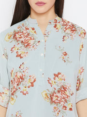 Fabnest women floral top with georgette shell and cotton lining