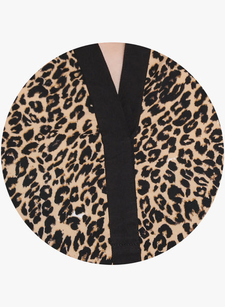Fabnest womens animal print crepe top with an elasticated sleeve at cuff.