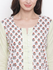 Fabnest womens cotton block printed white top front with solid light green back