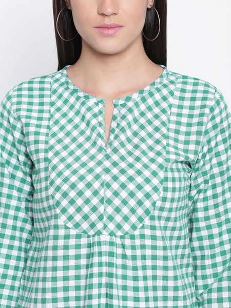 Fabnest womens cotton green and white check top with bias yoke