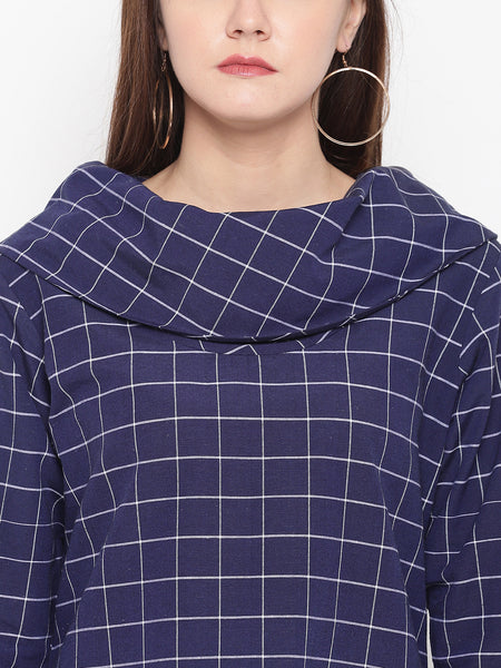 Fabnest womens Cotton Handloom blue window pane cowl neck tunic