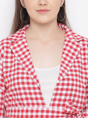 Fabnest Womens Cotton Handloom red and white gingham check tie up jacket and short set