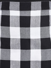 Fabnest womens black and white bog check A line skirt