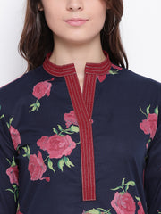 Fabnest womens indigo rose print cotton assymetrical hem kurta