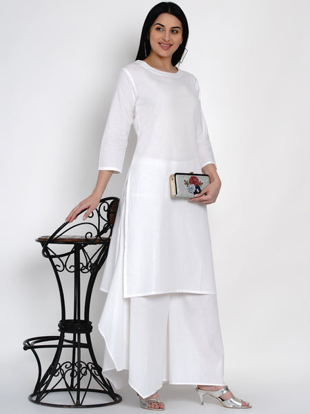 Fabnest Womens Cotton White Kurta And White Asymmetrical Pant Set