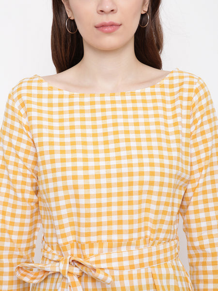 Fabnest Womens Handloom cotton yelloew/white check dress with belt