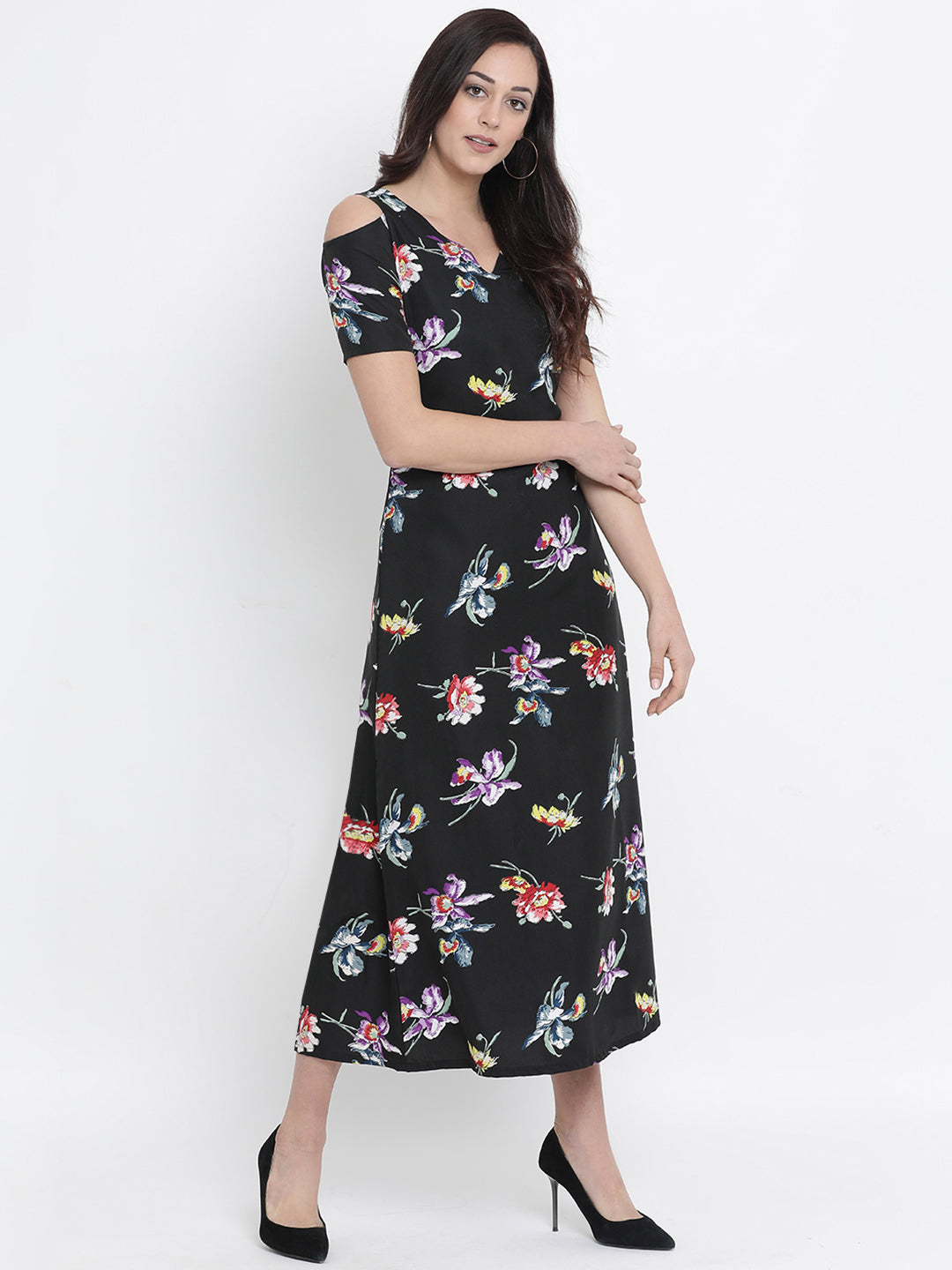 3140c60194 Fabnest womens crepe black floral print cold shoulder maxi dress