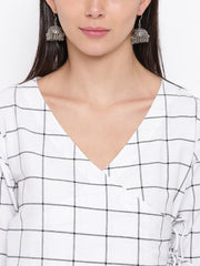 Fabnest womens cotton white check angarkha Kurta
