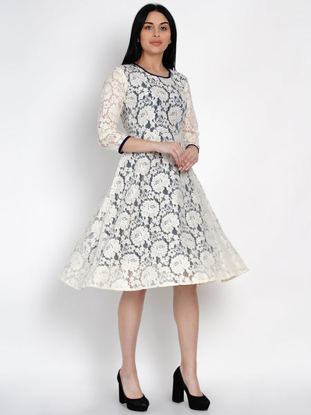 Fabnest Womens Lace Dress With Navy Lining