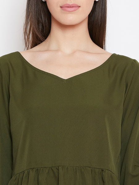 Fabnest womens khaki crepe top with gathers and tacked sleeves