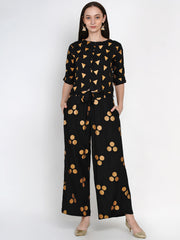 Fabnest Womens Black Rayon Loose Fit Pant Palazzo With Gold Foil With Belt