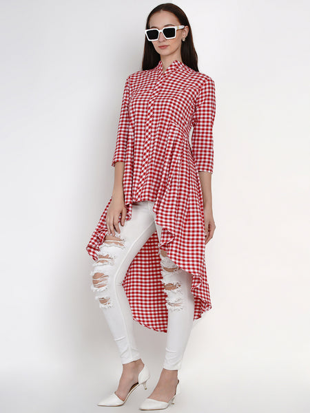 Fabnest Womens Handloom Cotton Red And White Check Assymterical Hem Long Tunic