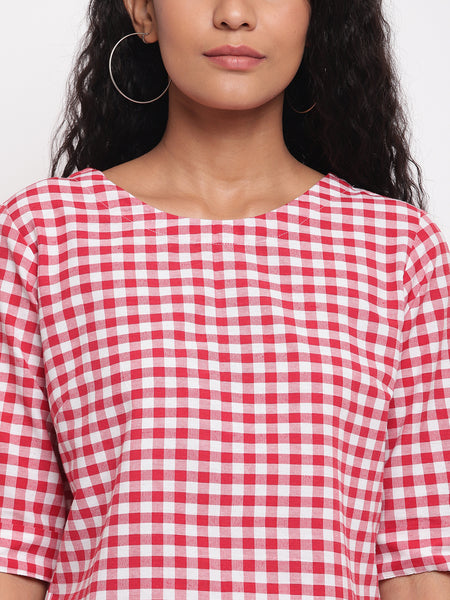 Fabnest women handloom cotton red and white check crop top