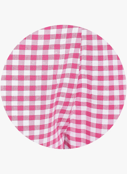 Fabnest womens handloom cotton pink and white check pants
