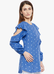 FABNEST WOMENS GEOMETRIC BLUE TUNIC WITH FLARED SLEEVES