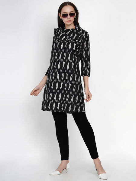 Fabnest Womens Cotton Black Ikkat Print Cowl Neck Long Tunic