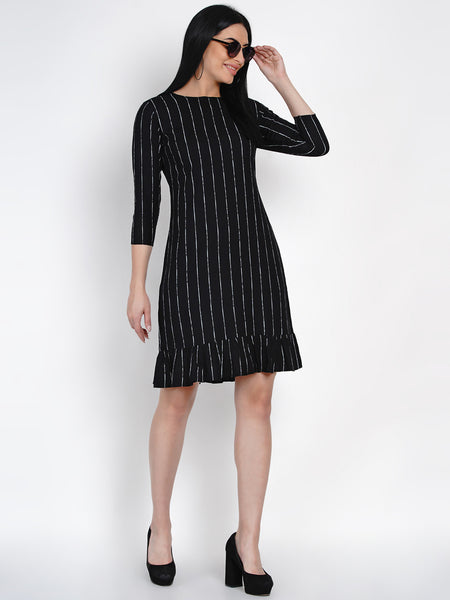 Fabnest Womens Black Rayon White Stripe Dress With Frills At Bottom