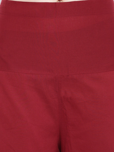 Fabnest womens cotton indigo assmetrical kurta and maroon assymetrical pant set