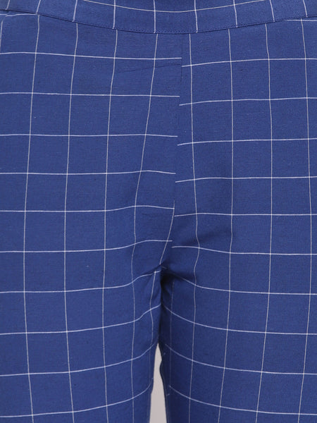 Fabnest womens handloom cotton blue window pane check jacket with straight pants