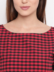 Fabnest womens Black and red check dress