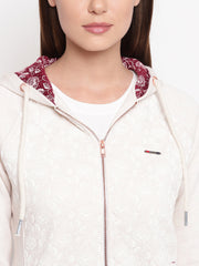Fabnest womens winter white embroidery floral print hoodie sweatshirt