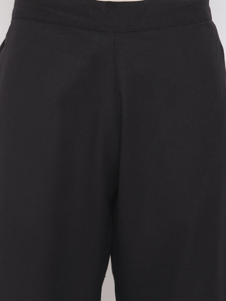 Fabnest womens cotton flex black A line kurta with straight pants