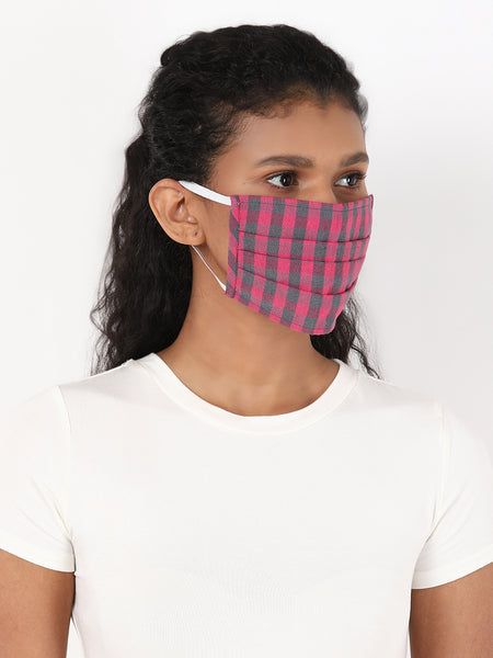 Fabnest Womens Multicolour Check Face Masks Pack Of 2