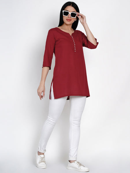 Fabnest Womens Rayon Maroon Pearl Button Tunic